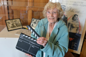 Golden Years launch at City Hall, Bradford. Margaret Metcalfe with memorabilia from the film she featured in. 03.10.16